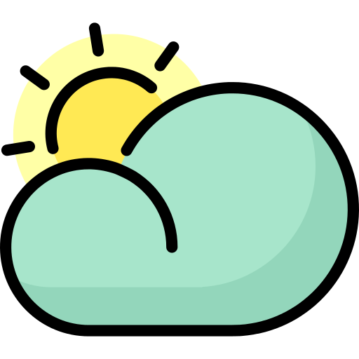 Cloudy Sun Rays Png Icon