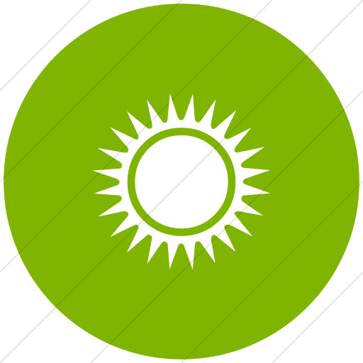Flat Circle White On Green Classica Black Sun With Rays