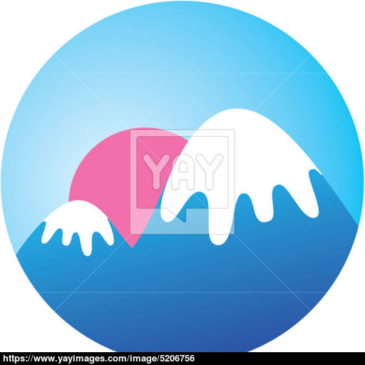 Icon Sunset Mountains Vector