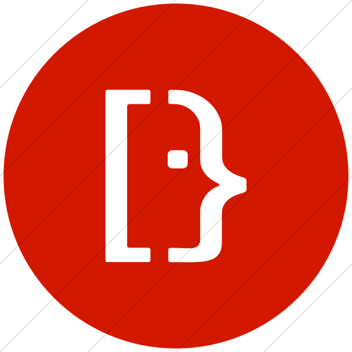 Flat Circle White On Red Social Media Super User Icon