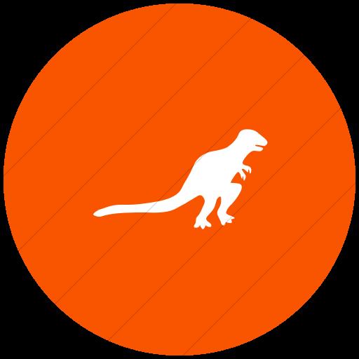 Flat Circle White On Orange Animals T Rex Dinosaur Icon