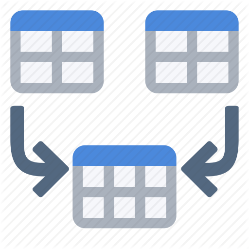 Combine, Concatenation, Join, Merge, Table Icon