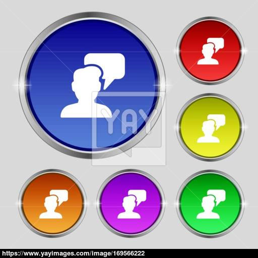 People Talking Icon Sign Round Symbol On Bright Colourful Buttons
