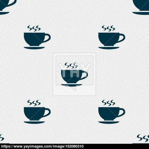 The Tea And Cup Icon Sign Seamless Pattern With Geometric Texture