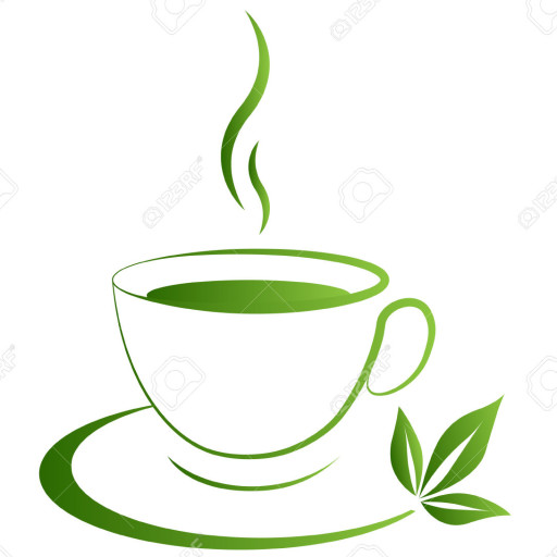 Cropped Tea Cup Icon Green Grad On A White Background
