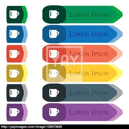 Cup Coffee Or Tea Icon Sign Set Of Colorful, Bright Long Buttons