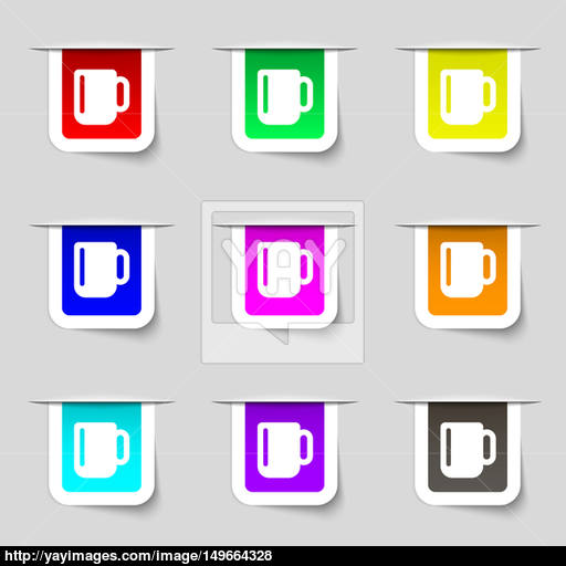 Cup Coffee Or Tea Icon Sign Set Of Multicolored Modern Labels