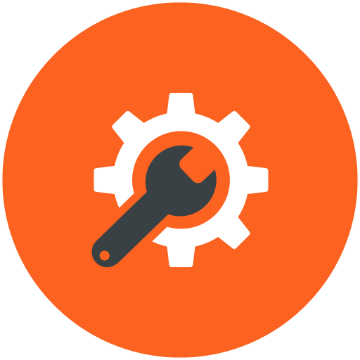 Technical, Support, Config, Configure, Tools, Orange Icon Free