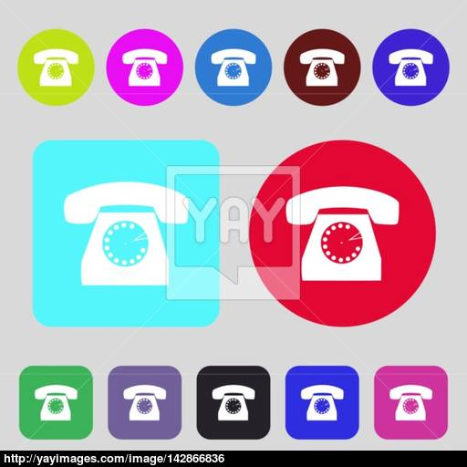 Retro Telephone Icon Symbol Colored Buttons Flat Design