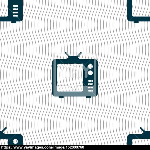 Old Tv, Television Icon Sign Seamless Pattern With Geometric