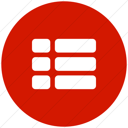 Flat Circle White On Red Bootstrap Font Awesome Th List