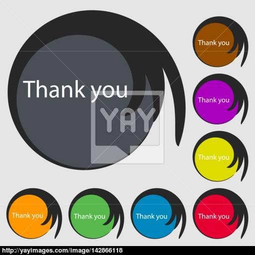 Thank You Sign Icon Gratitude Symbol Symbols On Eight Colored