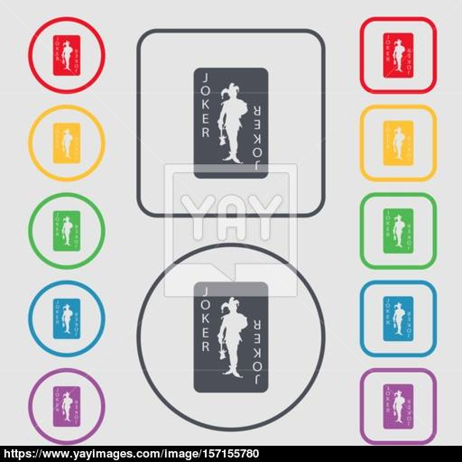 Single Playing Cards, Joker Icon Sign Symbol On The Round