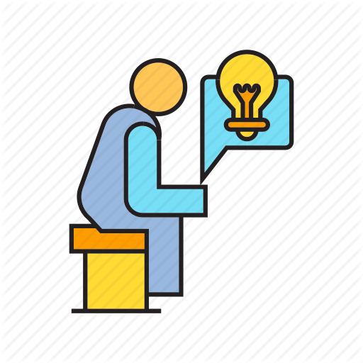 Creative, Idea, Light Bulb, People, Sitting, Think, Thinker Icon