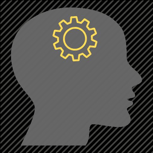 Brain Gear, Creative, Gears, Head, Intelligence, Person, Thinking Icon