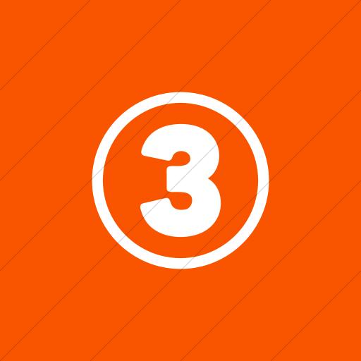 Flat Square White On Orange Encircled Three Icon