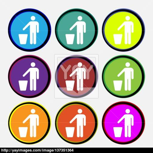 Throw Away The Trash Icon Sign Nine Multi Colored Round Buttons