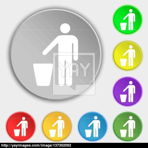 Throw Away The Trash Icon Sign Symbol On Five Flat Buttons