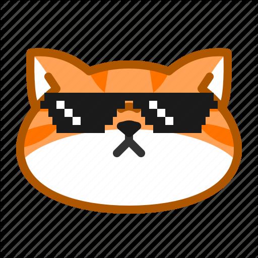 Cat, Cute, Emoticon, Glasses, Thug Life Icon