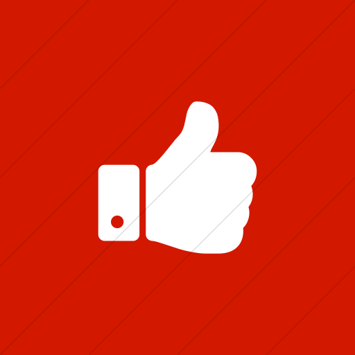 Flat Square White On Red Bootstrap Font Awesome Thumbs