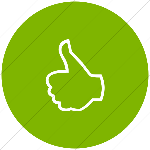 Flat Circle White On Green Classica Thumbs Up Outline