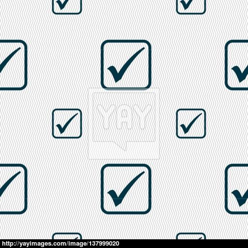 A Check Mark Icon Sign Seamless Pattern With Geometric Texture
