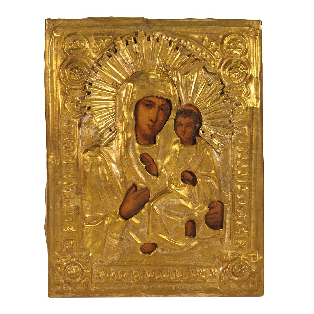 Russian Oklad Icon Our Lady Of Tikhvin