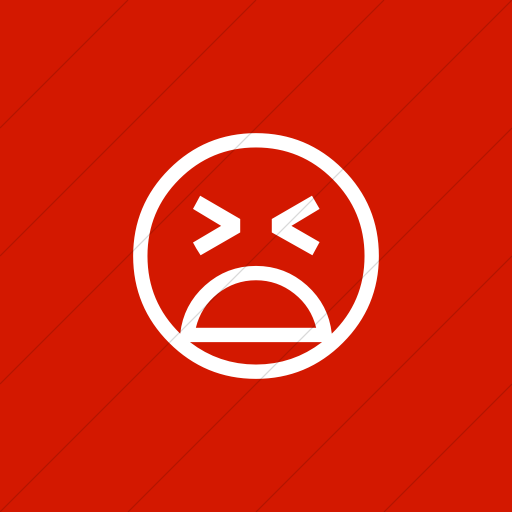 Flat Square White On Red Classic Emoticons Tired Face Icon