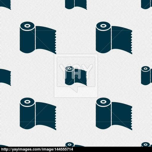 Toilet Paper, Wc Roll Icon Sign Seamless Abstract Background
