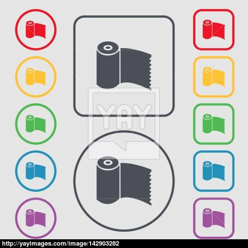 Toilet Paper, Wc Roll Icon Sign Symbols On The Round And Square