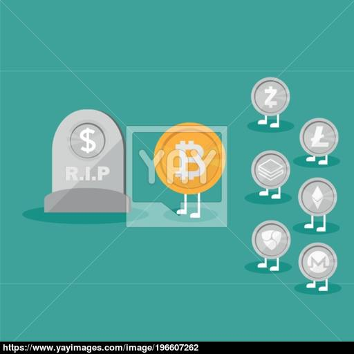 Dollar Coins Icon Tombstone Flat Real Money Vs Bitcoin Virtual