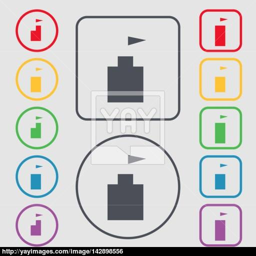 Tower Icon Set Flat Modern Symbols On The Round And Square