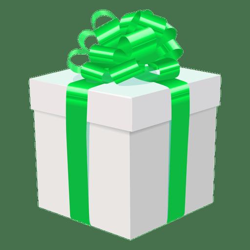 White Gift Box Green Bow Icon