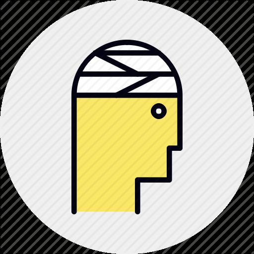 Bandage, Head, Mental, Sickness, Trauma Icon