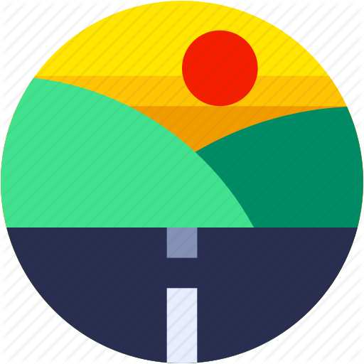 Circle, Flat Icon, Highway, Hills, Landscape, Road, Travel Icon