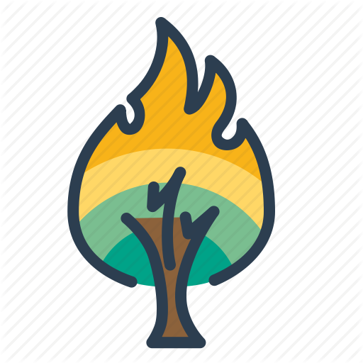 Burning Tree, Danger, Fire, Flame, Forest Icon