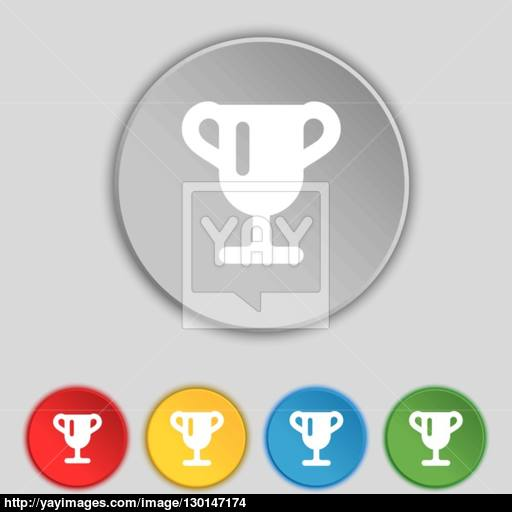 Winner Cup, Awarding Of Winners, Trophy Icon Sign Symbol On Five