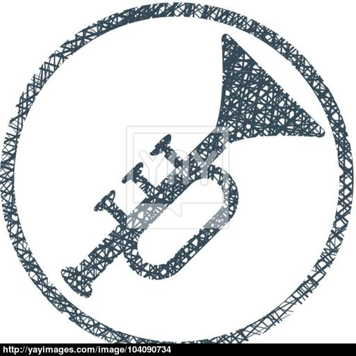 Vector Icon Of Trumpet With Hand Drawn Lines Texture Vector