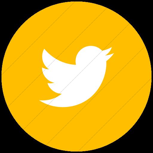 Flat Circle White On Yellow Social Media Twitter Icon