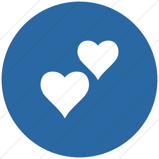 Flat Circle White On Blue Classica Two Hearts Icon