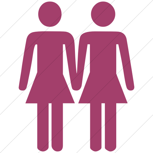 Simple Pink Classica Two Women Holding Hands Icon