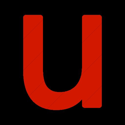 Simple Red Alphanumerics Lowercase Letter U Icon