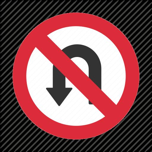 No U Turn, Prohibit, Traffic Sign, U Turn, U Turn Prohibit Icon