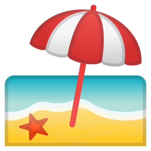 Beach, With, Umbrella Icon Free Of Noto Emoji Travel Places Icons