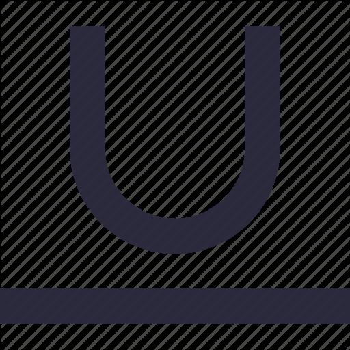 Alphabet, Edit, Letter U, Text, Underline Icon