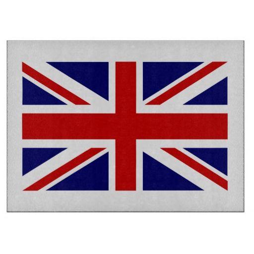 British Flag Glass Cutting Board Union Jack Icon Cutting Boards