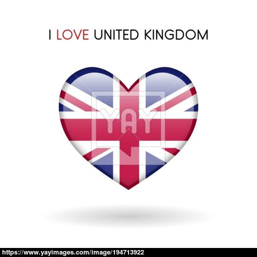 Love United Kingdom Symbol Flag Heart Glossy Icon Vector