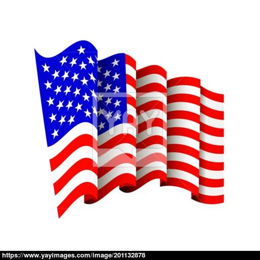 American Flag Icon Isolated Waving Icon Of United States