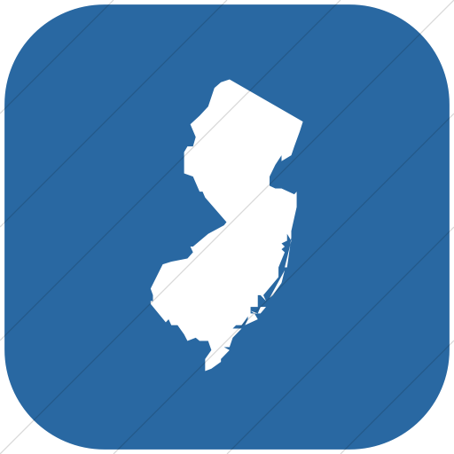 Flat Rounded Square White On Blue Us States New Jersey Icon
