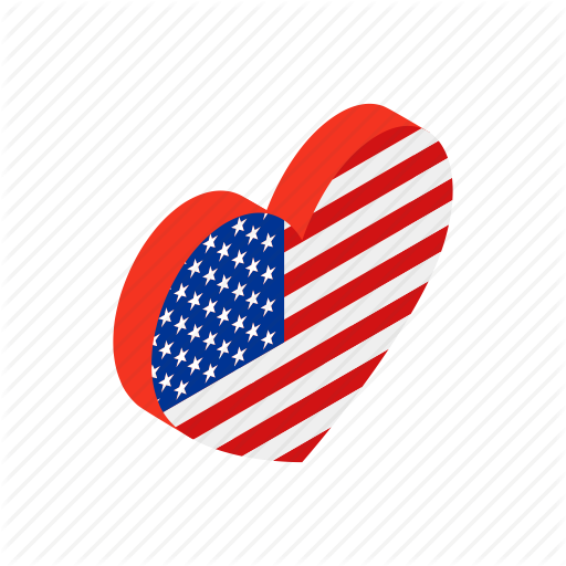American, Heart, Independence, Isometric, July, Love, Usa Icon